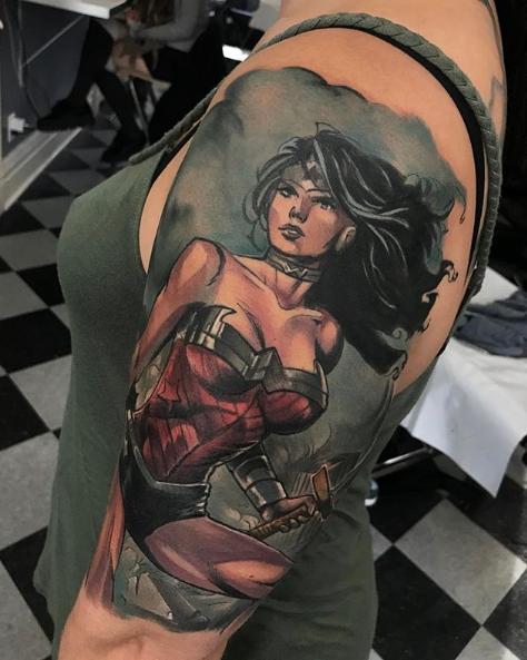 Progress on Wonder Woman half sleeve